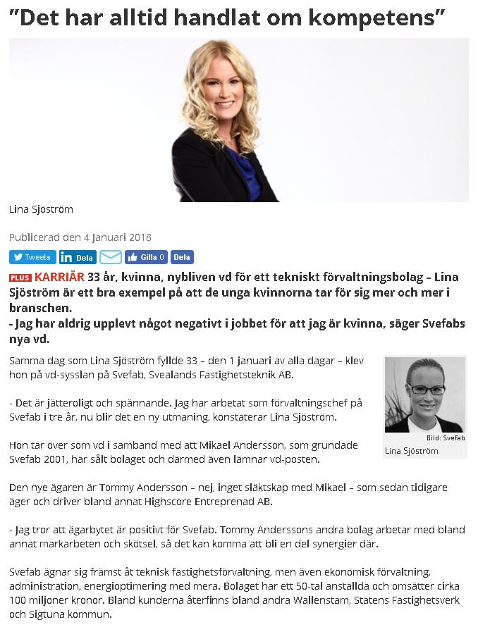 """Lina Sjöström, SVEFABs VD-byte uppmärksammades i många branschtidningar, bland annat nedan i """"Fastighetsnytt"""""""